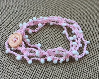Crochet Wrap Bracelet - Pink and White