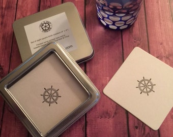 "Eight Ship's Wheel Nautical Letterpress Coasters (4""x4"") in Metal Tin with Window"