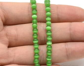 Cats eye beads, 4mm round, green stone beads, gemstone beads, natural gem stone bead strand, semi precious beads, craft supplies, CTE2010
