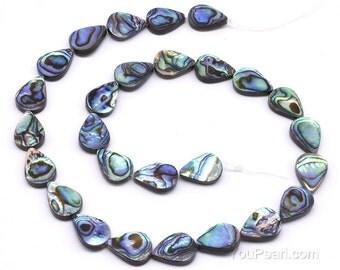 9x13mm abalone shell beads, teardrop shape paua shell, rainbow abalone full strand, natural loose shell beads, wedding jewelry, ABA1060
