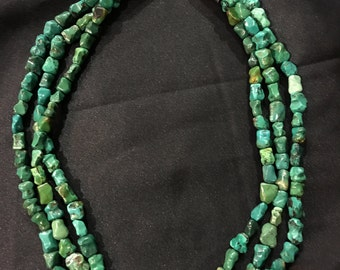 Native American Green Bone Turquoise 3 strand Sterling Silver Necklace.