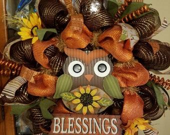 Owl Wreath, fall wreath, Autumn wreath, Fall mesh wreath, blessings wreath,  Fall blessings