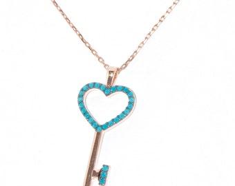Silver Key Necklace, Key Pendant, Turquoise Key Necklace, Grandma Gift, Turquoise Key Pendant, Necklace Key, Heart Jewelry,Pandora, Cartier