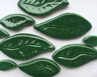 10 Dark Green Ceramic Leaf Tiles can Be Used For Mosaic And Other Mixed Media Projects