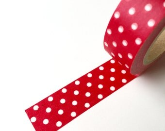 50% OFF CLEARANCE SALE !!!  Washi Tape - Red Polka Dots Washi Tape - Washi Tape - Masking Tape - 1.5cm x 10yd (9.1m) (was 3.00)
