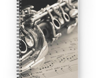 Clarinet Spiral Notebook ~ Birthday Gift for Musician ~ Music Notebook  ~ Music Journal ~ Clarinet Photo Diary ~ Black and White Notepad