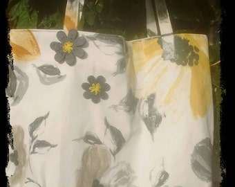 Grey, cream and yellow floral bag