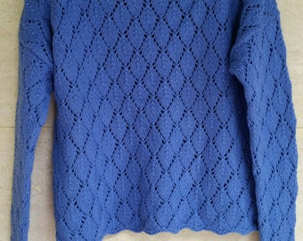 ROWAN sweater cardigan lace knitted cotton Handknit Cotton hand blue size S/36 FR