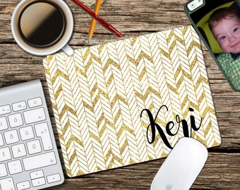 Gold Arrow - Personalized Mouse Pad - Monogram Mousepad - Personalized - CoWorker Gift - Teacher Gift - Chic Mousepad - Glitter
