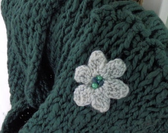 Eco friendly green cotton scarf: long and soft with fringe and flower, for women/teens