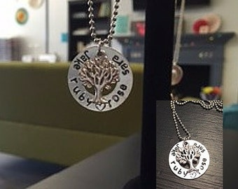 Personalized Family Tree Metal-Stamped Necklace