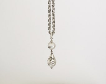 Silver Ball Drop Necklace