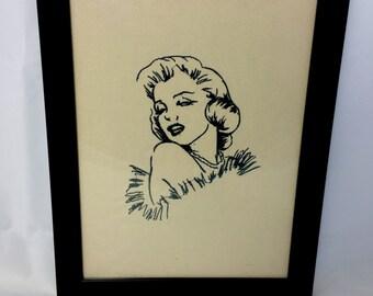 Marilyn Monroe Embroidered Artwork Framed