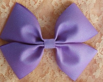 Handmade Purple GlitteryFlat Boutique Style Hairbow with Barrette