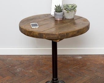 Knottr Hand Made Industrial Chic Reclaimed Wood Wrought Iron Leg Round Table. Custom Made to Order.