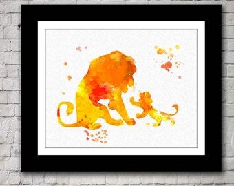 Lion King Simba Mufasa watercolour - Buy 2 Get 1 FREE