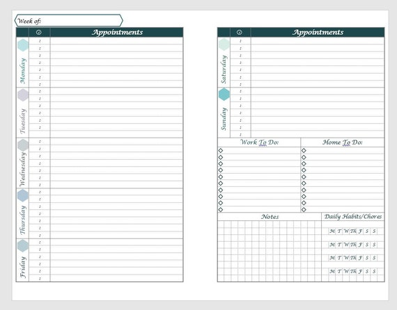 Printable a5 Horizontal Weekly Planner layout with Daily