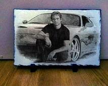 Paul Walker Sketch Art on Slate