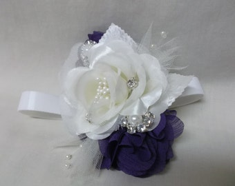 Eggplant and White Corsage