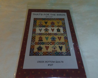 "Quilt Pattern, Folk Art Birdhouses, That's for the Birds, Creek Bottom Quilts #127 Wallhanging 31"" x 41.5"""