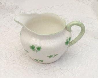 """ROYAL YORK Petite  White and Green 'Shamrock"""" Creamer. Vintage Irish Shamrock Creamer"""