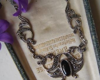 Vintage - wonderful art - deco necklace - 925 Silver with Markasiten