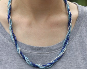 Blue  Bead Necklace, statement necklace, summer jewelry, handmade, gift for her