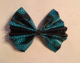 Blue and Black Damask Duct Tape Hair Bow