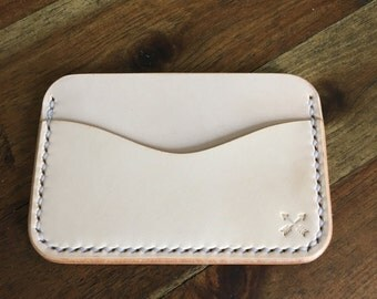 Handmade Three Slot Front Pocket Card Holder - Full Grain Leather - Men's Credit Card Carrier - Men's Wallet - EDC - Minimalist - Natural