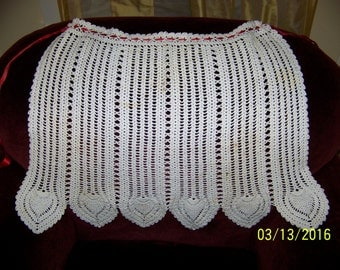 VINTAGE HAND CROCHETED white apron with red ribbon ties