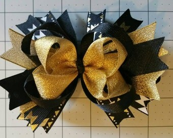 5 inch Black and Gold Stacked Boutique Hairbow With Alligator Clip