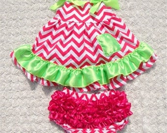 Pink and green dress with ruffle bottom
