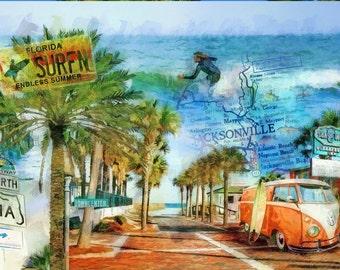Retro Beach, Surfin' A1A, VW Bus, Orange VW Bus, Surfer, Surfboard, Jacksonville, Florida, Beach Decor, Seahorse Inn, Surfing, Coastal Decor