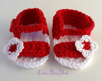 Canada Day Baby Sandals, Baby Sandals, Newborn Sandals, Crochet Baby Sandals, Red and White Sandals, Flower Sandals, READY TO SHIP