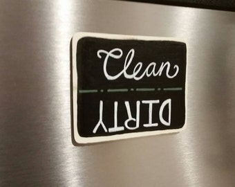 Rustic Handpainted Chalkboard Clean/ Dirty Dishwasher Magnet- Customizable- Housewarming Gift, Kitchen Accent