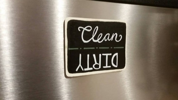 rustic handpainted chalkboard clean dirty dishwasher magnet. Black Bedroom Furniture Sets. Home Design Ideas
