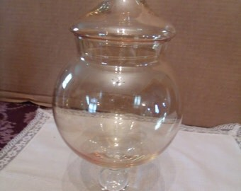 vintage Glas Candy Dish with Lid, Light Orange Tinted, (# 154/9)