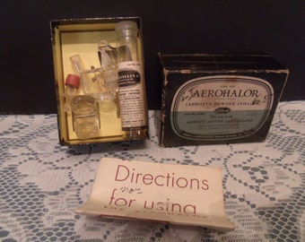 Vintage Aerohalor Abbott's Powder Inhaler w/Penicillin Cartridges - Medical Oddity (# 535/19)