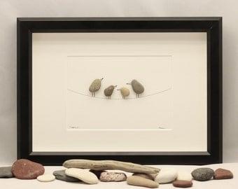 Pebble art picture Birds, pebble art sale