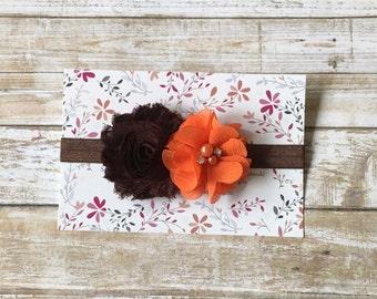 Orange & Brown Headband/Flower Headband/Thanksgiving Headband/Baby Thanksgiving/Holiday Headband/Baby Girl Headband/Baby Headband/Newborn