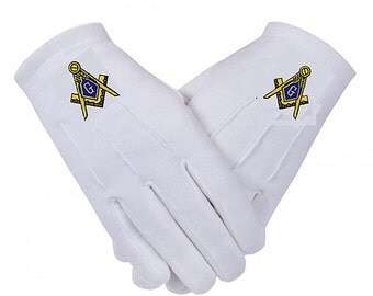 MASONIC GLOVES - Embroidered Logo - Cotton in 5 Sizes