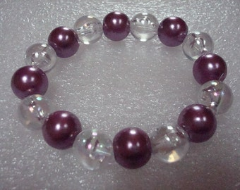Purple And Clear Beaded Stretch Bracelet / Anklet