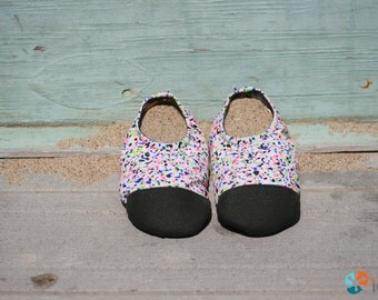 Pool - Beach - Water Shoes for Kids and Toddlers, Dotty Spots, Spandex fabric with Toughtek rubber Sole and Toe Cap