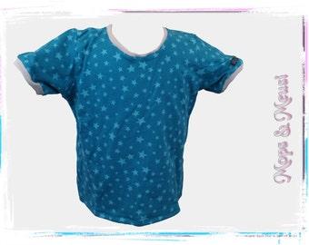 T-shirt 104 grey blue light blue star