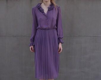 Vintage 80s purple  summer dress
