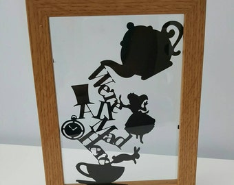 We're All Mad Here - Alice in Wonderland Inspired - Paper Cut in Floating Frame