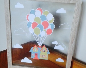 Adventure is Out There - 'Up' inspired Paper Cut in Floating Frame