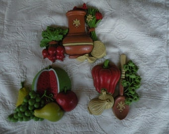 Syroco Kitchen wall hangings,3 pc. set,  Vintage, Kitchen Decor, made in the USA