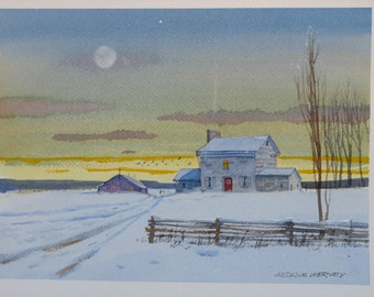 Winter watercolor painting, original watercolor, stone house painting, winter landscape, snow painting #17