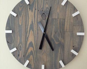 Large Gray Modern Wood Clock, Pallet Wood Clock, Reclaimed Wood Clock, Large Wall Clock, Unique Wall Clock
